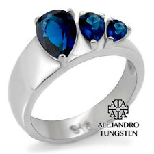 Women's Ring Wedding Blue Pear Cut Stainless Steel Ring Design Size 7 #FUJ