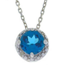 1 Ct London Blue Topaz & Diamond Round Pendant .925 Sterling Silver