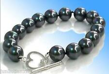 "Real 10mm black south sea shell pearl round beads bracelets 7.5 "" AAA"