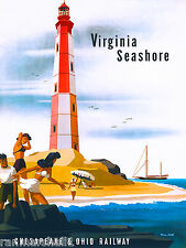 Virgina Lighthouse Seashore United States America Travel Advertisement Poster