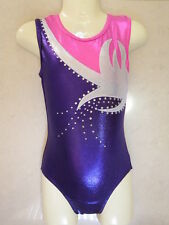 NEW PURPLE WHITE PINK SHINY FOIL W/ DIAMONTES CXS 42cm Sz 3-4 Gymnastics Leotard