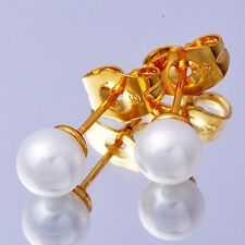 Womens 14K Yellow Gold Plated Small White Pearl Stud Earrings Vintage Jewelry