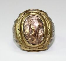 Vintage Military Men's Ring 1952 Korea in Brass w 14K Gold Top Size 8.5