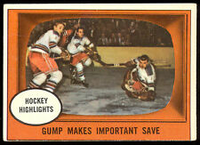 1961-62 TOPPS HOCKEY #65 GUMP WORSLEY MAKES IMPORTANT SAVE N Y RANGERS FREE SHIP