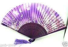 Purple Japanese Hand Held Flower&Butterfly Silk Bamboo Folding Wedding Fan