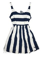 Abercrombie & Fitch Women's Summer Striped Navy Blue White Dress Size Large