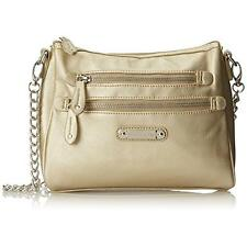 Franco Sarto 9570 Womens Class Act Gold Shoulder Handbag Purse Medium BHFO