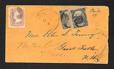 US 1860s  2c BISECT COVER MASS TO NH  GRILL  Sc 65/87/87b