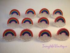 24 RAINBOW CLOUD Cupcake Ring Favor Supplies Rings Topper Birthday