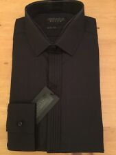 NEW VENTUNO 14' COLLAR SLIM FIT BLACK TUXEDO DRESS SHIRT,PLEATED FRONT
