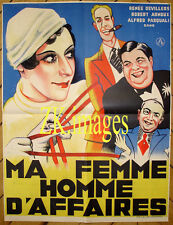 MA FEMME HOMME D'AFFAIRES Parité Feminisme Satire Cigare Film Affiche 1932