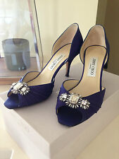DESIGNER JIMMY CHOO SIZE 37 CREPE DE CHINE AND SWAROVSKI CRYSTAL SHOES