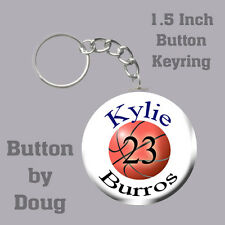 Basketball Keyring Personalized with Name, Team, Number 1.5 Inch Button Charm