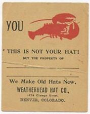 DENVER CO TRADE CARD WEATHERHEAD HAT CO PROTECTION *NOW ON SALE* TC1939