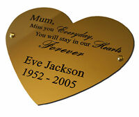 """Engraved Brass Plaque Sign Bench Plate Memorial 8"""" Heart Solid Polished Brass"""