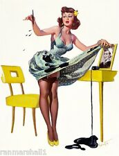 1940s Pin-Up Girl Spilled the Ink Picture Poster Print Art Pin Up