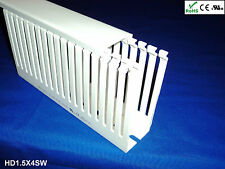 "12 New 1.5""x4""x2m Wide Finger Open Slot Wiring Cable Raceway Duct, PVC, White"