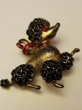 Gorgeous Vintage Retro Sterling Silver Poodle Pin / Brooch Red Eyes