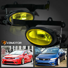 For 2006-2008 Honda Civic 2Dr Coupe JDM Yellow Bumper Fog Lights+Switch Kit