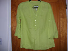 MARKS & SPENCER BRIGHT LIME LONG SLEEVE LINEN TUNIC TOP BLOUSE SIZE 12