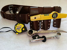 Scaffolding Brown Leather Tool set Belt - with Tools - 4Pcs Heavy Duty Tools