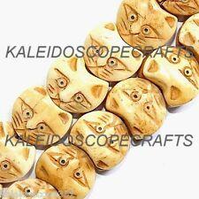 CARVED BONE KITTY CAT HEAD FACE BEAD 15X18MM BEADS