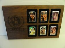 Rare 2016 Zippo Playboy Playmate Lighter with Wood Display Plaque 6 lighter Set