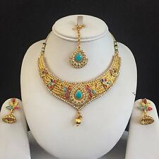 MULTI GOLD INDIAN VINTAGE MUGHAL COSTUME JEWELLERY NECKLACE EARRINGS SET BRIDAL