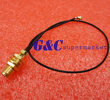 "cable SMA female bulkhead jack to IPX U.fl PCI card 1.13mm 6"" pigtail"