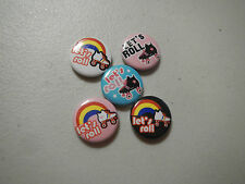 "5 Let's Roll Roller Skate Skating 1"" Pinback Button Pins Badge Goody Party Favor"