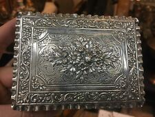 184g ANTIQUE CONTINENTIAL 800 SILVER HALLMARKED FLORAL DESIGN BOX