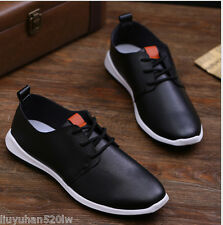 New Men's Board Casual Canvas Leather Sneakers Slip On Loafer Sport Shoes p43