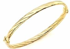 9ct Yellow Solid GOLD Twist Detail Bangle/Bracelet 6.6cm Diameter UK + FREE Gift