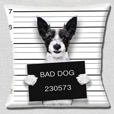 "FUNNY BLACK WHITE ROUGH COAT JACK RUSSELL BAD DOG PHOTO 16"" Pillow Cushion Cover"