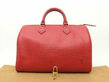 Louis Vuitton Authentic Epi Leather Red speedy 30 Purse Hand Bag Auth LV