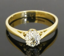 VINTAGE 18carat Giallo Oro & piattaforma (0,35 CT) Diamante Solitario Anello (taglia l)