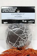 HALLOWEEN SPIDER WEB CUPCAKE BAKING CUPS 75 COUNT STANDARD SIZE NEW!