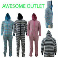 ADULTS WOMENS STRIPED MENS HOODED ZIP ONESIE PLAYSUIT ALL IN ONE LADIES JUMPSUIT