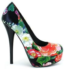 Size12 BLACK/FLORAL Platform Stiletto Pump Drag Queen Brash Bordello Pleaser