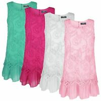 GIRLS 2 LAYER BUTTERFLY LACE CHIFFON DRESS KIDS PARTY CASUAL SLEEVELESS TOP 3-14