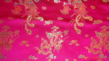 Pink Cerise Dragon print Chinese Satin Dress Fabric 112cm Wide SOLD PER METRE