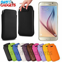 NEW SOFT LEATHER PULL UP TAB CASE POUCH SLEEVE COVER SOCK FOR SAMSUNG GALAXY S6