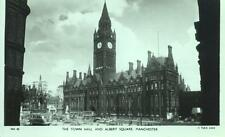 Town Hall Albert Square Manchester Bus 1950s Tuck real photo postcard