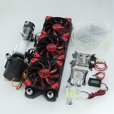 CPU GPU Water Liquid Cooling 360 Radiator Kit Pump Reservoir Red LED HeatSink
