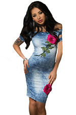 New sexy women club party cocktailRose Embroidered Off Shoulder Midi Denim Dress