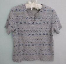 CLASSIC ELEMENTS PETITE GRAY FLORAL COTTON BLEND SHORT SLEEVE CASUAL KNIT TOP*PM