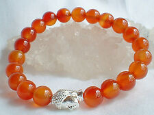 Natural Carnelian Orange Crystal Bead Mala Buddha Head Bracelet~Reiki~Healing