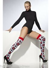 Alice In Wonderland White Stockings Thigh Highs With Hearts & Poker Pattern