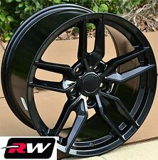 "17""/18"" Corvette Stingray Replica Gloss Black Wheels Rims & Lug Nuts fit 1988-04"