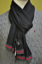GUCCI Unisex Italy Green Red Web Wool Jersey Wool Black Scarf Dust Bag NWT